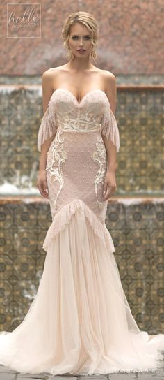 """bellethemagazine: """"Naama and Anat Wedding Dress Collection 2019 - Dancing Up the Aisle - FLAMENCO an elegant fitted off the shoulder sweetheart neckline bridal gown with plunging back, full. Dresses Elegant, Elegant Wedding Dress, Vintage Dresses, Wedding Gowns, Wedding Bride, Fluffy Wedding Dress, Dream Wedding, Trendy Wedding, Dance Dresses"""