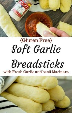 Soft and fluffy gluten free breadsticks brushed with olive oil and natural garli.Soft and fluffy gluten free breadsticks brushed with olive oil and natural garlic salt, these are the perfect addition to any meal! From start to finish, you'll h Patisserie Sans Gluten, Dessert Sans Gluten, Gluten Free Desserts, Gluten Free Appetizers, Cold Appetizers, Gluten Free Flour, Gluten Free Cooking, Gluten Free Garlic Bread, Gluten Free Meals