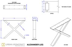 This listing is for a SET of custom Alexander metal table legs. They are typically 34 - 40 wide & 28 - 30 tall, but can be offered in whatever