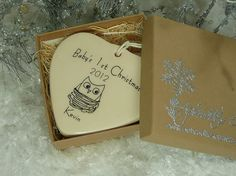 CUSTOM  Babys 1st Christmas Porcelain Heart by aphroditescanvas, $28.00