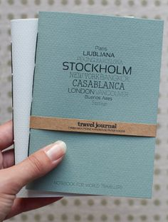 Travel Journal, Branding idea. Need a printed band with contact details, print details on back cover too