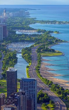 This is Chicago's lakefront looking north from the Hancock building's observatory as sunset approaches. Pinned by #CarltonInnMidway - www.carltoninnmidway.com