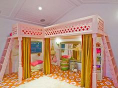 Custom IKEA Loft Bedroom Ideas for Kids with Pink L Shape Bunk Beds