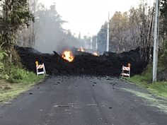 Hawaii's Kilauea Volcano erupts - This photo provided by Hawaii Electric Light shows Mohala Street in Leiliani Estates near the town of Pahoa on Hawaii's Big Island that is blocked by a lava flow from the eruption of Kilauea volcano on May Big Island Hawaii, Hawaii Volcano, Hawaii Homes, Lava Flow, Mother Nature, Earth, World, Electric Light, Viajes