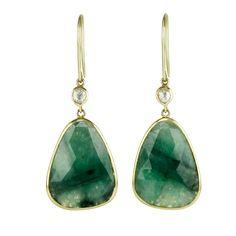 14 Karat Yellow Gold Drop Earrings with Bezel-Set Rose Cut Emeralds, Champagne Diamonds, and Filigree Backs