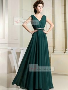 Dark Green Bridesmaid Dress Chiffon V-neck Floor-length Draped Dresses
