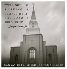 "A beautiful shot of the Kansas City, MO Temple. We dearly love this Joseph Smith quote because we feel the same way as the Temple has been built here! ""We're not just building a Temple here, the Lord is building us. Mormon Temples, Lds Temples, Lds Quotes, Temple Quotes Lds, Prophet Quotes, Mormon Quotes, Later Day Saints, Temple Pictures, Templer"