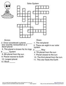 Our Solar System Crossword Puzzle Best Puzzles