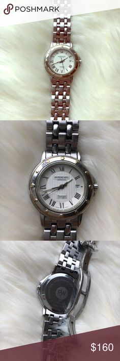 Raymond Weil Geneve Tango watch stainless steel Raymond Weil Geneve Tango watch in stainless steel for women. Please read description in the last photo.  The gold on the watch's face is mostly gone, some slight scratches. Works perfectly fine! Raymond Weil Jewelry