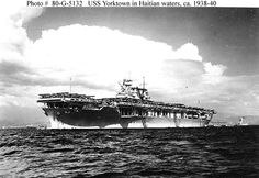 [Photo] USS Yorktown (Yorktown-class) at anchor in Haiti, Uss Hornet Cv 12, American Aircraft Carriers, Uss Yorktown, Naval History, Military History, Navy Aircraft, American Civil War, American History, Native American