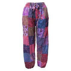 Patchwork Harem Pants - Purple High Crotch
