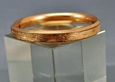 Austin & Stone Gold Filled Bangle Bracelet Victorian Engraved Antique Jewelry 1907