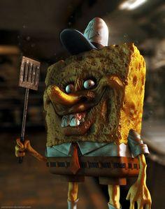 How cartoon characters would look in real life: Spongebob Squarepants Arte Horror, Horror Art, Real Horror, Creepy Art, Scary, Cartoon Art, Cartoon Characters, Horror Cartoon, Cosplay Disney