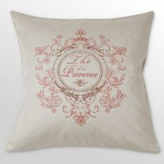 French laundry pink and burlap pillow!  *i need, like, 25 of these. with blue embroidery, green, yellow, etc...*