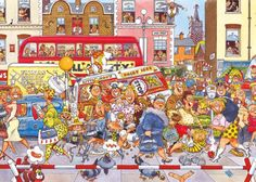 """Este puzzle de 500 piezas (49 x 35 cm aprox.) es otro de nuestros favoritos de la serie Wasgij de Jumbo. Esta vez el reto consiste en construir la imagen de lo que está viendo la ancianita... ¿cuál es su punto de vista del caos de la calle? Sin duda un reto puzzlero """"imposible"""" :)"""
