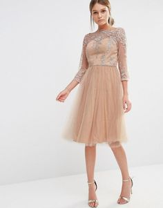 Chi Chi London | Chi Chi London Bardot Neck Midi Dress with Premium Lace and Tulle Skirt at ASOS