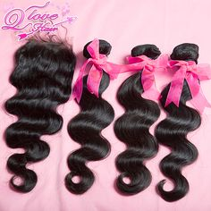 Queen love hair products Brazilian Virgin Hair Body Wave 1Piece Lace Top Closure with 3Pcs Hair Bundles 4pcs/lot,Free shipping