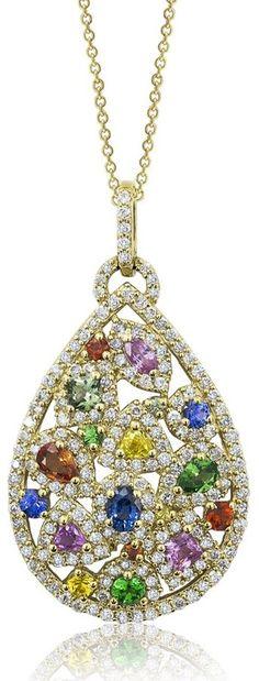 Effy Watercolors 14K Yellow Gold Multi Sapphire & Diamond Pendant