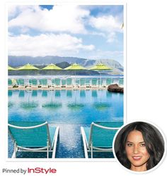 """Top Getaway Destinations —Olivia Munn: """"Kauai's St. Regis hotel is the most beautiful spot. It has warm water and mountains for hiking."""""""