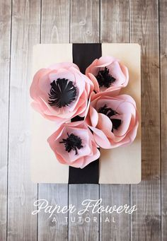 Paper Flower Tutorial gift wrapping ideas Paper flowers diy diy paper craft idea gift box sealed with hearts - Diy Paper Crafts Paper Flower Tutorial, Paper Flowers Diy, Handmade Flowers, Flower Crafts, Diy Paper, Fabric Flowers, Paper Crafting, Diy Cardstock Flowers, Tissue Paper