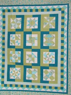 Queen/King Sampler Quilt in Turquoise blue dark teal by djwquilts