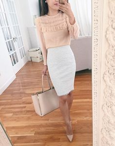 tweed pencil skirt business professional work outfit ideas