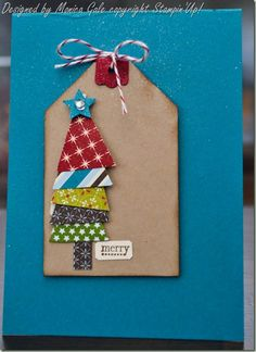 Cute tree tag idea....tree would be cute on a Christmas card too!