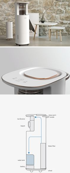 """Designed just for the Brits, """"Blendin"""" is a modern twist on this age-old tradition that makes it easy to enjoy tea anytime, anywhere. Rather than take trips back and forth between the kitchen, users can move this convenient rolling system wherever they desire. With a built-in reservoir and heating system, it keeps tea fresh and piping hot."""