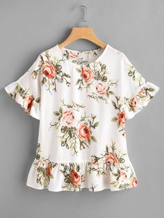 Shop Flower Print Frill Trim Top online. SheIn offers Flower Print Frill Trim Top & more to fit your fashionable needs.
