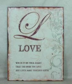 Plechová retro cedule Love | Bella Rose Vintage Metal Signs, Bella Rose, More Than Words, Retro, Love, Gifts, Art, Amor, Art Background
