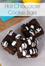 Your favorite hot beverage in cookie bar form! Quick and easy to whip up for a chocolate fix. Hot Chocolate Cookie Bars are the best! #CookieSwappinGood