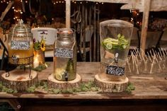 Fun and unique drink sign ideas for rustic and country weddings.  Maine caterers Foster's Clambakes and Catering, York, Maine http://www.fostersclambake.com