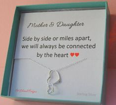 Mother Daughter Necklace Mother Daughter Jewelry Mom necklace from daughter to mom from son Christmas gifts for Mom gifts under 30 connecting hearts necklace Mothers jewelry Always with you Mom necklace on etsy