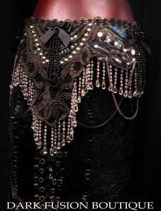 Professional Bellydance Belt Fusion Noir by darkfusionboutique,