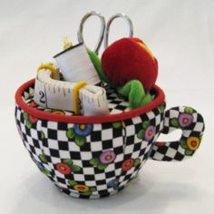 Mary Englebright teacup puncushion