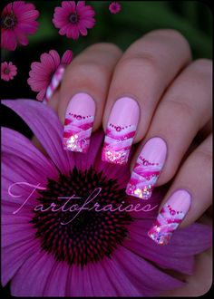 Girly - nail art designs (multicolor pink and white nails)