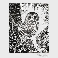 Owl in the Ivy original lino print                                                                                                                                                                                 More