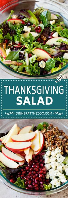 This Thanksgiving salad is a blend of mixed greens, fresh apples, pomegranate seeds, blue cheese and candied pecans, all tossed in a homemade vinaigrette. Supper Recipes, Easy Salads, Healthy Salad Recipes, Side Dish Recipes, Lunch Recipes, Easy Recipes, Side Dishes, Thanksgiving Salad, Thanksgiving Recipes