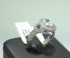 White Sapphire Engagement Rings | Antique 18k White Gold Sapphire & Diamond Engagement Wedding Ring ...