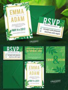 Natural Wedding Invitation Template. Wedding Fonts. $6.00