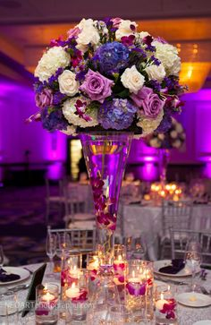 Elegant high centerpiece. Boca by Design. NeoArt Photography.