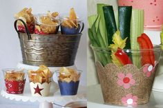 put a cupcake wrapper on the outside of a plastic cup, then fill with treats and snacks