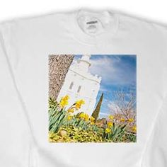 Grounds of St. George, Utah LDS Temple with Tree Trunk and Yellow Flowers and Temple in The Distance Sweatshirt