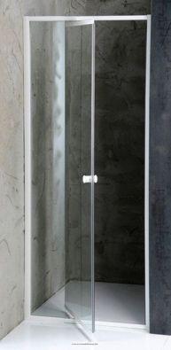 AMICO zuhanyajtó, fehér profil/transzparent üveg állítható méretekkel