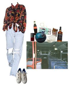 """""""late night bowling"""" by nadyaarw on Polyvore featuring adidas, BaubleBar, NARS Cosmetics and Crate and Barrel"""