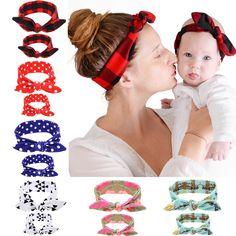 Newborn and Mother Paternity Set Cross Knot Headband Kids Women Elastic Ring Hair Accessories Flower DIY Hair Band W222