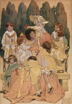 """A Mother Surrounded by Children"" by Jessie Wilcox Smith"