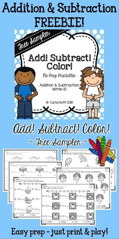 Here's a fun freebie for students working on addition and subtraction facts to These print and play worksheets are great for kindergarten or first grade centers, small groups, independent practice, or homework! 1st Grade Math, Kindergarten Math, Teaching Math, Teaching Ideas, Teaching Resources, Classroom Resources, Math Classroom, Classroom Ideas, Free Math