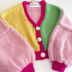 The Alice Chunky Knit Cardi 🌙 Handmade from chunky merino wool ~ Features large balloon sleeves and embellished buttons, adding a… Handmade Clothes, Diy Clothes, Wool Shop, Indie Fashion, Crochet Clothes, Knitwear, Knit Crochet, Creations, Swag