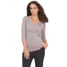 Taupe 3/4 Sleeve Pleated Maternity Top. Access is between layers - one up, one down.